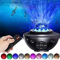 Star Projector Night Light, LUXONIC 2-in-1 Ocean Wave LED Starry Night Light Projector Built-in Bluetooth Speaker Sound Sensor for Baby Children's Bedroom, Home Decoration, Game Rooms