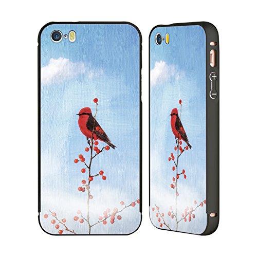 Ufficiale Paula Belle Flores Pioggia Rosa Primavera Nero Cover Contorno con Bumper in Alluminio per Apple iPhone 5 / 5s / SE Holly Bearry Heaven