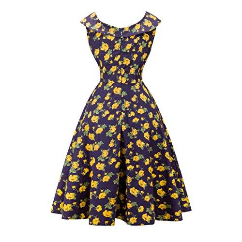 Damen A-Linie 50er Vintage Abendkleid Rockabilly Kleid Knielang Festliches Pin Up Kleid Partykleider Cocktailkleider 9403Gelb
