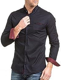 BLZ jeans - Chemise chic navy motifs rouge avec poche