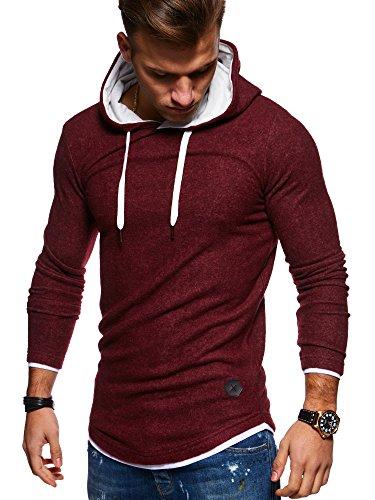 MT Styles Herren 2in1 Oversize Hoodie Pullover Kapuzenpullover Hoodie MT-7426 [Rot, M]