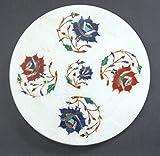 chakla Chapati-Roti Schöpfern 25,4cm Durchmesser Weiß Marmor indischen Artikel Halbedelsteine Einlage Floral Design