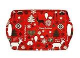 HAAC Tablett mit Weihnachtsmotiven Farbe rot oder weiß 38 cm x 23 cm für Weihnacht Weihnachten
