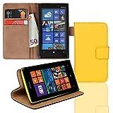 EximMobile Brieftasche Handytasche Flip Case Etui für Nokia Lumia 920 Gelb