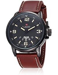 NAVIFORCE Reloj de cuarzo para hombres, impermeable, analógico, estilo militar y deportivo (marrón)