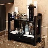 FEI Rack Cosmetic Organizer, 2-Tier-Multifunktions-Bambus-Aufbewahrungs-Organizer-Rack mit Darwer-Halter für Küchenarbeitsplatten-Badezimmer, Schlafzimmer 32.5 * 16 * 31CM (Farbe : SCHWARZ)
