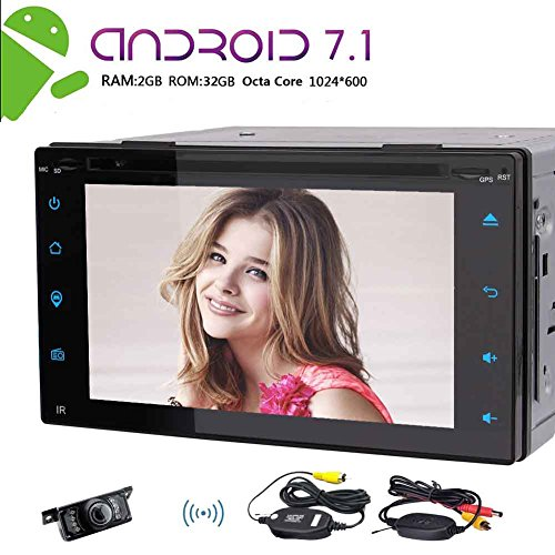 Wireless Camera + NEW Octa-Core-Car Stereo 6.2 Zoll Doppel-DIN-GPS-Navigation Autoradio Android 7.1 CD DVD Video 1080P Player Bluetooth FM-RDS-Empf?nger Head Unit Wifi mit Fernbedienung