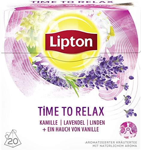 Lipton Kräutertee (für echte Teegenießer Time to Relax aus nachhaltigem Anbau Pyramidenbeutel) 3 x 20 Beutel