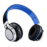 Aita BT816 Auriculares Bluetooth de Diadema Plegable, Cascos Estéreo con LED light, FM Radio TF card, Construido en llamadas Inalámbricas Micrófono de Manos Libres para iPhone PC Mac TV (Azul)