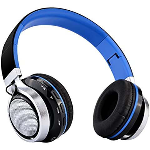 Aita BT816 Auriculares Bluetooth de Diadema Plegable, Cascos Estéreo con LED light, FM Radio TF card, Construido en llamadas Inalámbricas Micrófono de Manos Libres para iPhone PC Mac TV