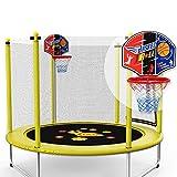 Trampoline mit Basketballkorb und Gehäuse, 5FT Indoor Rundspringtisch für Mädchen, Unterstützung 250kg gartentrampolin (Farbe : Gelb)
