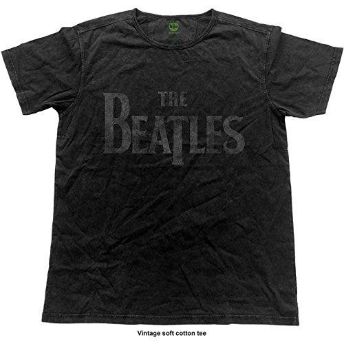 The Beatles T Shirt Drop t Band Logo offiziell Herren Vintage Finish