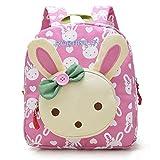 Vox Niedlich Bär Hase Tiere Kleiner Kinderrucksack Canvas Kindergartenrucksack Tasche Mädchen Jungen Babyrucksack Outdoor Schultasche Backpack für 1-3 Jahre Alte Baby Zum Wandern (Pink)