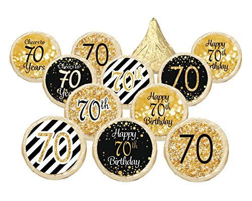 70th Birthday Party Decorations - Gold Black - Stickers for Hershey Kisses Set of 324