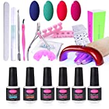 Clavuz Kit de Manicura 6 pcs Esmalte de Uñas de Gel con Lámpara UV Accesorios Base Coat Top Coat Set Profesional - C014