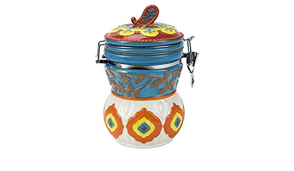 Hinged Jar Elephant Caravan Collection Hand-painted Earthenware Storage Container by Boston Warehouse 97774