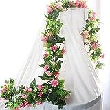 BlueXP Künstliche Blumen, künstliche, Seide, Rosen, Girlande, 2Stück, 230cm, für Hochzeit, Dekoration, Rose Blume Efeu, Pink, Rosa