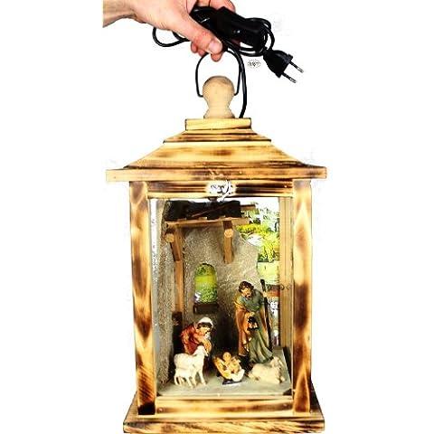 Da KLG mfos fiamma, presepe con personaggi, con illuminazione, Lanterna in legno con vetro e legno–cornice, fiammato,, Natale lanterne antico–Look