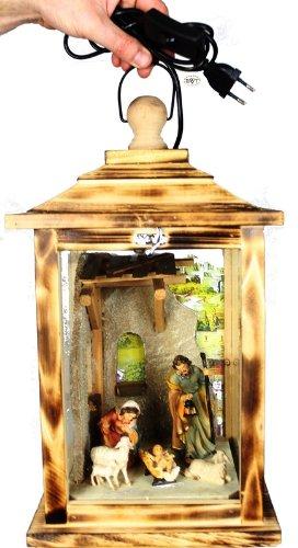 KLG-MFOS-GEFLAMMT, Weihnachtskrippe, Krippe, mit Beleuchtung, in Holzlaterne, komplett mit Beleuchtung, mit Glas und Holz - Rahmen, geflammt gebrannt amazon schwarz - natur Glasvitrine, Vitrine, Weihnachtskrippen Antik - Look