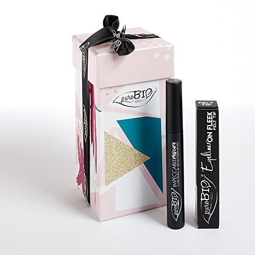 PUROBIO COSMETICS - Edición limitada B -Compuesto de 1 Eyeliner On Fleek Fieltro Semi-Matte Tip negro con punta de fieltro para trazos gráficos - 1 Impeccable Mascara Imparting - Biológico