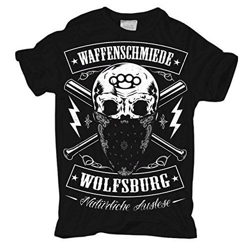 Männer und Herren T-Shirt Waffenschmiede Wolfsburg Körperbetont schwarz