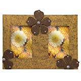 Wooden Brown Textured Dual Photo Frame w...