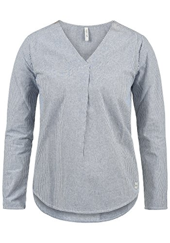 BlendShe Stacey Damen Lange Bluse Langarm Mit Streifen-Muster Und V-Ausschnitt Aus 100% Baumwolle Loose Fit, Größe:XL, Farbe:Mood Indigo Stripe (20064) -