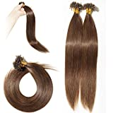 Silk-co Bonding Extensions Echthaar 100 strähnen - #4 Mittelbraun - Kertain Bonding Haarverlängerung Remy Echthaar U Tip Human Hair (50cm-50g)