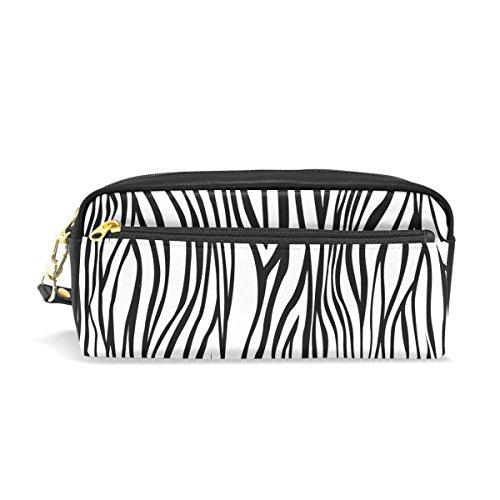 mydaily schwarz und weiß Zebra Stripe Federmäppchen Pen Tasche Münzfach Kosmetik Make-up-Tasche (Zebra Büromaterial)