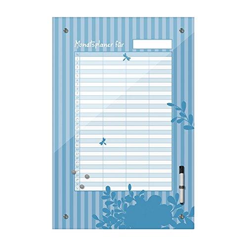 , Monatsplaner für Alle - blau - Dekoration, Küche, Flur, Wohnzimmer, Familie, Ideal für Termine - Geburtstage und Notizen, Bild auf Glas, Floral ()