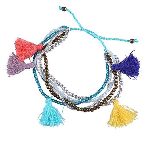 KELITCH Mode Farbe Perlen Quasten Multi Strangarmbänder Hand Weben Neu Charm Schmuck (Silver)
