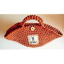 Cesta de crochet naranja. Capazo mediano