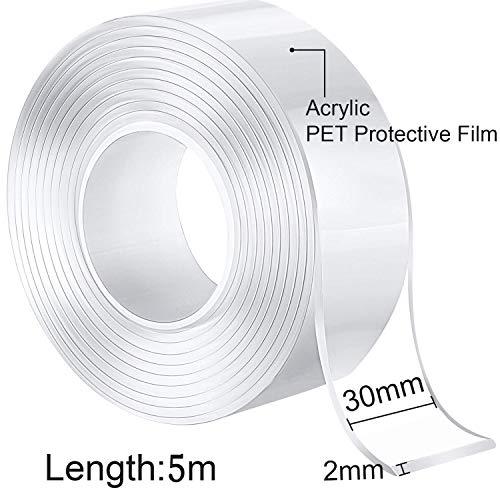 BeYself Cinta de doble cara multifuncional,  cinta adjesiva doble,  cinta adhesiva lavable nano Traceless,  cinta de gel antideslizante reutilizable (16.4ft/5M)