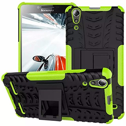 Heartly Flip Kick Stand Spider Hard Dual Rugged Armor Hybrid Bumper Back Case Cover For Lenovo A6000 A6000+ Plus - Great Green