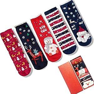 LIKERAINY Christmas Ragazze Donna Calzini Cotone di Natale Caldo Inverno Confortevole Babbo Natale e Alce 5 Paia 10 spesavip