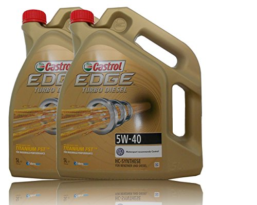 2x 5 L = 10 Liter Castrol Edge Turbo Diesel Fluid Titanium 5W-40 Motoröl inkl. Castrol Ölwechselanhänger