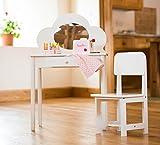 Klassischer Schminktisch mit Stuhl für Kinder, Weiß