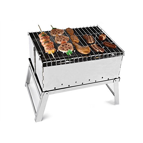 BBQ Grill, Portable Holzkohle Edelstahl Grill, Faltbare Kohle Garten Reise Camping Klapp Grill Grill Party (Grill Steel Portable Stainless)