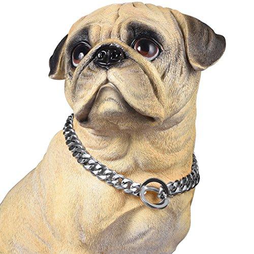 PROSTEEL Hundehalsband Starke Edelstahl Kette 15MM Silber Farbe Kragen Panzerkette Trainings Kragen Halskette für Hund Haustier Hals Seil, Länge 46cm (Farbe Halskette)