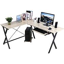 """HLC Mesa para ordenador, Escritorio PC moderno en forma """"L"""", Regalo ideal para la familia!"""