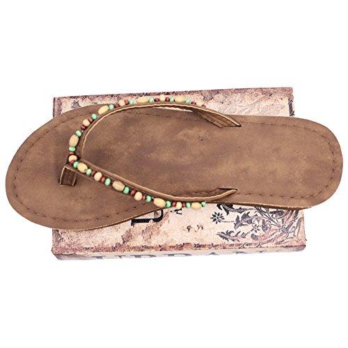 Eastlion Frauen und Mädchen Blumen Design Bequeme Sommer Hausschuhe Flip Flops Strings Strand Hausschuhe Schuhe, Rot 35