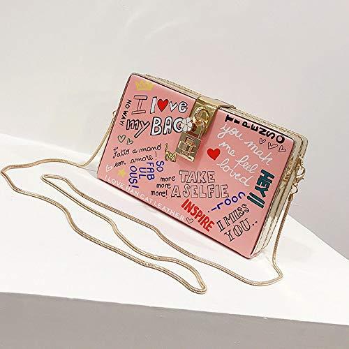LIFEIstb Frauen Umhängetaschen,Persönlichkeit Kette Doodle Buchstaben Crossbody-Tasche Einfache Und Vielseitige Handtasche Für Damen Mode Dekoration Casual Telefon Multifunktions Messenger Bag, Pink