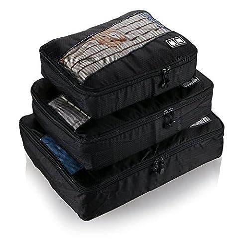 BlueBeach® Satz von 3 Reise Kleidertaschen Verpackungswürfel organizer Wäschesack Gepäck Kompressionstaschen Tasche in Tasche Taschenorganizer für