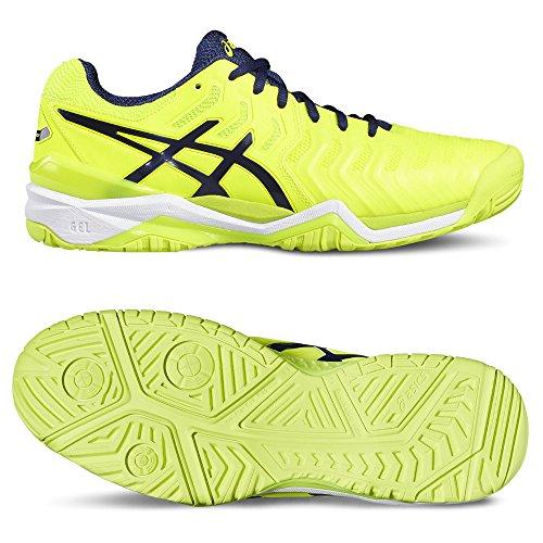 Asics Gel-Resolution 7, Chaussures de Tennis Homme, Noir, 7 EU Jaune