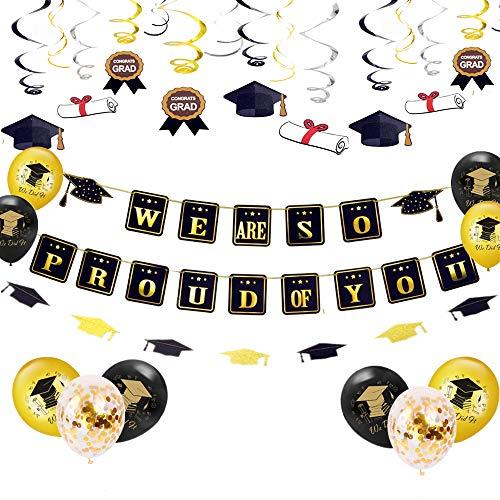 Jevenis set di 25 siamo molto orgogliosi di te banner di graduazione per palloncini congratulazioni banner decorazioni per feste di laurea