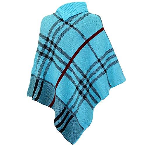 Poncho Tartan et Unie pour Dames Tricoté Châle Enveloppant Taille Unique 36-42 Tartan Turquoise