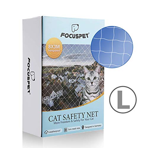 Focuspet Rete Protettiva per Gatti, 3X8M Rete di Sicurezza per Animali in Balconi e Finestre Rete per Balconi Griglia di Protezione Trasparente