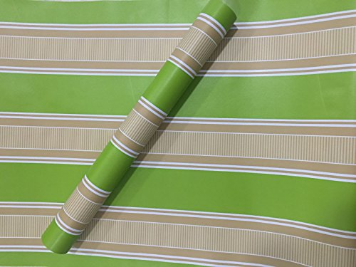 ZCHENG The Simple Self-Stick Wall Paper Glue Surface Wallpaper Pvc Wallpaper Wallpaper Waterproof Self-Adhesive 10 Meters One Roll Of Green On White And Silver 10M Green Stripes, Extra-Large585255 -