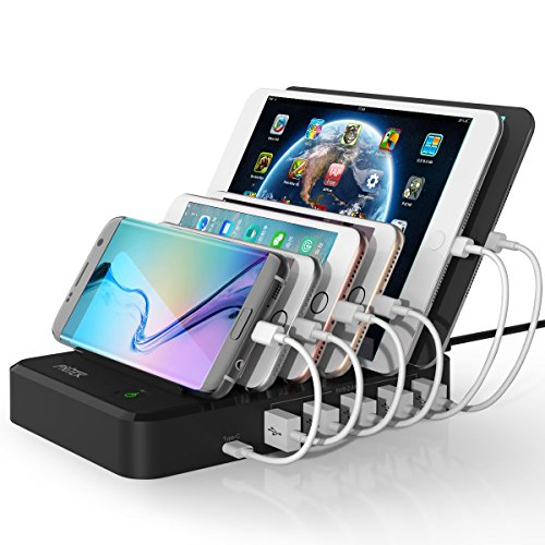 Charging Station, PRITEK 6-port USB Charging Station with Type-C Port Multiple USB Charger Organizer Station for Cellphones, Tablets or other USB Enabled Gadgets (Black)