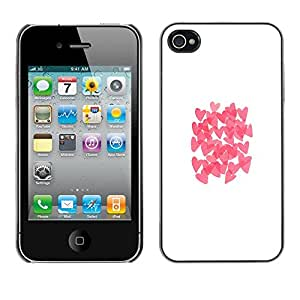 Omega Covers - Snap on Hard Back Case Cover Shell FOR Apple iPhone 4 / 4S - Butterfly White Clean Pink